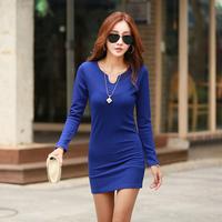 women sexy dress 2014 new fashion autumn casual elegant v neck solid long sleeve slim skinny mini dresses plus size M-XXXL