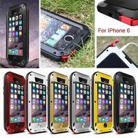 2014 Love Mei Waterproof Shockproof Rugged Tempered Gorilla Glass Small Waist Metal Aluminum Case Cover For iPhone 6 4.7inch