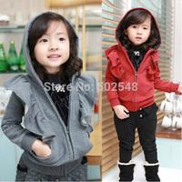 2014 Winter Children Fleece Coats Girls Flounced Hooded Jacket Coats Kids Coats Free Shipping 5 PCS