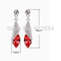 fashion women's 14 k  white gold plated Peanut shape crystal earrings    size:4*1cm