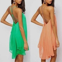 hollow out brand dress 2014 women metal buckle cross straps halter chiffon dress plus size dresses 3 color 13065