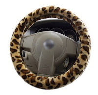 SC058 car steering wheel cover red grey withshort soft fuzzy  leopard 38cm size  universal for racing steering wheel in winter