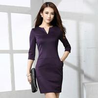 plus size M-XXL new women work wear dress 2014 fashion autumn elegant solid v neck long sleeve slim skinny black pencil dresses