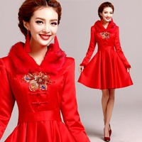 Elegant and noble fur collar cheongsam Bridesmaid dresses party special occasion dresses 2014 fashion vestido de madrinha 8283