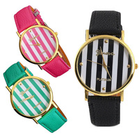New Classic Geneva Stripes Print PU Leather Woman Man Analog Quartz Wrist Watch Tonsee