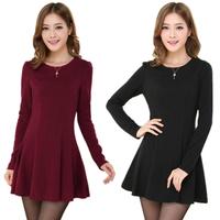 women elegant dress 2014 new fashion autumn winter casual solid with zipper long sleeve slim pleated mini dresses S-XL