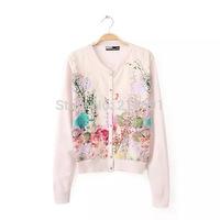 2014 new fashion women elegant flower printed Rustic Style cardigan sweater Lady winter casual slim thin Knit Cardigan#E891