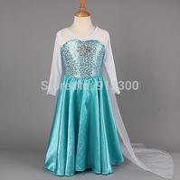 DHL 2014 Brand New Frozen Princess Dresses Blue ELSA ANNA Dresses with White Lace Wape Girls Fashion Frozen Dresses F04