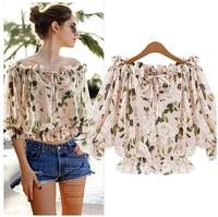 new 2014 summer woman lady printed chiffon blouse casual basic Bohemia top tee shirt half sleeve slash neck stretch fashion S~XL
