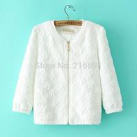 2014 new fashion women cute flower pattern puff sleeve short outerwear Lady casual 3/4 sleeve zipper cardigan coats#E892
