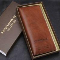 High-grade packing famous brand 2014 new genuine leather man's wallet vintage  cowhide long-section man purse free shipping