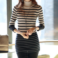 new women elegant sweaters 2014  fashion autumn winter casual striped turtleneck long sleeve stretch skinny sweaters pullovers