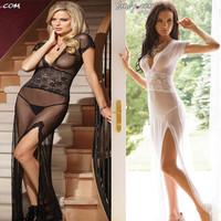 Polyester Gown Women Robe Sexy Lingerie Sleepwear  Nightgown For Women