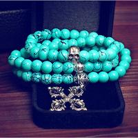 Blue turquoise bracelet cross skull pendant multi layer vintage women bracelets bangle fashion jewelry for best friends 0253
