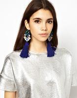 Free Shipping Full diamond tassel earrings blue long tassel drop earrings women long earrings