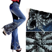 2014 Autumn  Winter Women's Fashion Embroidered Beads Decorated Blue Jeans , Female Elastic Flared Denim Trousers , Woman Pants