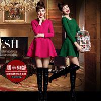 new women vintage dress 2014 fashion autumn winter casual elegant European solid high waist long sleeve slim mini tutu dresses