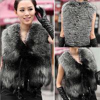Luxury Lady Faux Fur 2014 New Autumn Winter Women Coat Luxury Lady Faux Fur Vest  Sleeveless Sweater Waistcoat  Plus size XXXL