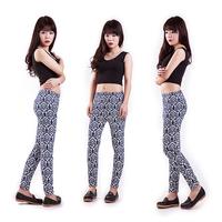 Hot Sale 2014 Geometric print spandex leggings women High Stretched Yoga sports legging pants fitness clothing leggins plus size