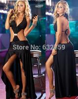 Sexy appeal of neck dress Ballroom dancing club uniform Fold dress