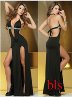 Europe and the United States backless sexy evening dress Open fork of the dress Public relations girl at night dress