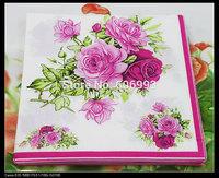 Food-grade Rose Paper Napkin Flower Festive & Party Tissue Napkins Decoupage Decoration Paper 33cm*33cm 1pack/lot