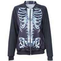 2014 Autumn winter New arrival Women Harajuku Machinical Skull Skeleton Digital print Casual Bomber Jacket Coat Outerwear S-J017