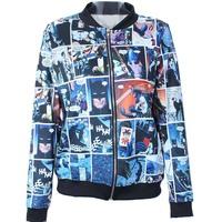 2014 Autumn winter New Women Quality Brand Harajuku Batman Comics Digital print Casual Bomber Jacket Coat Outerwear S-J014