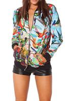 New 2014 Autumn winter Women Harajuku Birds In Paradise BF Zipper animal Casual Bomber Jacket Coat Outerwear Print S-J006