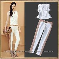 spring/ummer women's Brand fashion OL patchwork block color V-neck shirt Top+ elegant white pant suits twinset White/rose pink