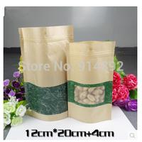 Free Shipping  12*20+4cm  Brown Kraft Paper Window Bag Doypack Pouch Ziplock Packaging / visual   ziplock