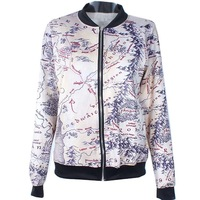 2014 Autumn winter New Women Quality Brand Harajuku Middle Earth Map Digital print Casual Bomber Jacket Coat Outerwear S-J015