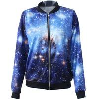 New 2014 Autumn winter Women Quality Brand Harajuku Galaxy Stars Digital 3D print Casual Bomber Jacket Coat Outerwear S-J013