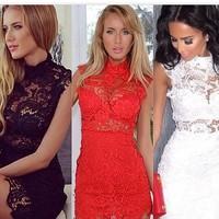 014 sleeveless turtleneck water soluble hollow out lace dress bandage dress mini bodycon dress frozen dress elsa dress
