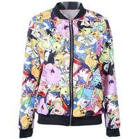 2014 Autumn winter New arrival Women Harajuku Cartoon Adventure Time Digital print Casual Bomber Jacket Coat Outerwear S-J018
