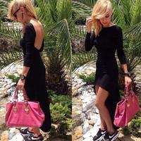 In the autumn of 014 hot long sleeved Black Halter irregular dress bandage dress mini bodycon dress frozen dress elsa dress