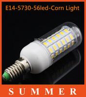 New Arrival 5Pcs/lot E14 SMD5730 220V led corn bulb E14 18W 56LED 5730 Warm white /white lamp 5730SMD led lighting free shipping