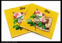 Food-grade Flower Paper Napkins Yellow Festive & Party Tissue Napkins Decoupage Decoration Paper 33cm*33cm 1pack/lot