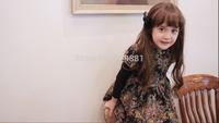 NEW ! 2014 Girls autumn  print lace dress , flower print dress , 5pcs/lot  LWH23