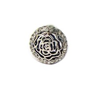 New 30pcs lot antique silver crystals metal round rose charm flatback button ornament accessories