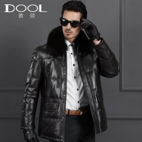 HOT SALE 2014 new men's Genuine leather down coat jacket clothing male  fox collar sheepskin leather outerwear warm thick