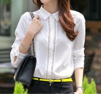 New 2014 summer autumn blouse long-sleeve solid hollow out chiffon blouse fashion ladies white sheer blouse loose OL tops M-XL
