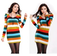 Autumn and winter women female sexy one-piece dress lace racerback stripe slim hip long-sleeve basic  DRESS