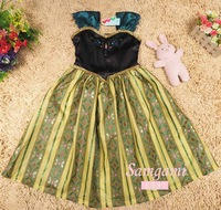 2014 New Autumn Frozen Dress Sleeveless Embroidery Girls Dresses Crazy Adventure Princess Girl Full Dress 5 pieces / lot 1166