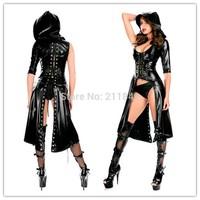 Hot New Sexy Gothic Punk Long Fetish Black Latex Catsuit Faux Leather Costume PU Jumpsuit Club wear Bodysuit
