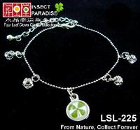 Real Irish Four 4 Leaf Clover Shamrock 18K Platinum Plated Chain Rhinestone Lovers Bracelet- Lucky Gift