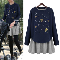 new 2014 autumn winter woman lady casual cotton dress Printed geometry patchwork long sleeve basic two-piece plus size S~4XL