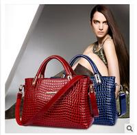 The new 2014 crocodile grain leather handbag Fashion female bag lady one shoulder aslant handbags women bag free shipping