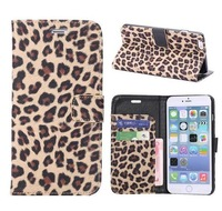 For iPhone 6 Plus,Fashion Leopard PU Leather Wallet Cover Case for iPhone6 Plus 5.5 inch,with Card Holder and stand,10pcs/lot