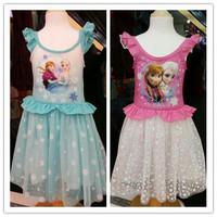 Wholesale 5 Piece Sleeveless Girls Gauze Frozen Dress Blue Pink Princess Elsa Anna Dress For Kids Aged 3~7 Years